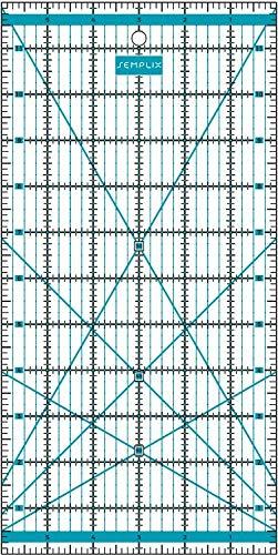 SEMPLIX Patchwork-Lineal Quilt-Lineal, transparent, mit Inch-Skala und Winkelfunktionen, ideal für Patchwork und zum Basteln, 12 x 6 inch (türkis)
