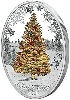2013 AU 2013 Chrismass tree swarowski 2013 Cook Islands - Silver Coin - $2 Uncirculated BM