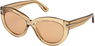 Tom Ford FT0577 Diane-02 Sunglasses Clear Shiny Brown w/Brown Lens 45E TF577 FT577