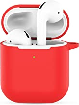 Compatible with Airpods 2 Wireless Charging Case,Silicone Airpods 2 Accessories Protective Cover,Compatible Qi Charging Lightning Compatible with Apple Airpods 2 Wireless Charging Case,Keychain-Red