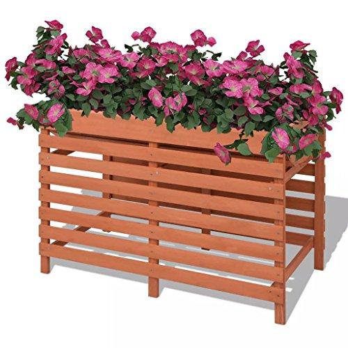 Festnight Holz Hochbeet Kr?uterbeet Pflanzkübel mit Fü?en 100 x 50 x 71 cm Braun Garten Blumenkübe Blumenkasten für Garten Terrasse Balkon