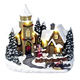 Lightahead Musical Christmas Carol Singing House Scene Figurine with LED Light and 8 Melodies