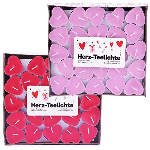 pajoma Teelichte Herz im 2er Pack 2X 50 Teelichte in Herzform, Brenndauer ca. 3 Stunden