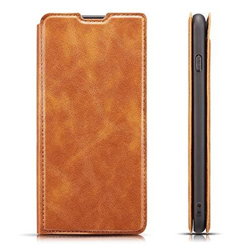 HH-Phone Case - Funda de piel para Galaxy S10 5G, diseño retro, ultrafina, con tarjetero, ranuras para tarjetas y cordón (negro), color marrón