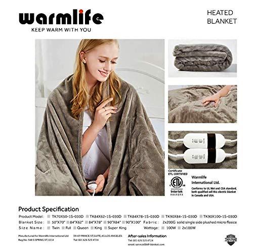 新品Warmlife Luxe Soft Flannl Fleece Heated Electric Blanket Twin Size with Safe & Warm Low-Voltage Technology Grey Flannel (Gey, 70x50)