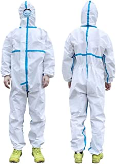 Harsuccting Disposable Protective Clothing with Hooded Waterproof Full Body Coverall Suit XL 3 PCS