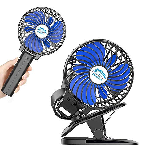 HandFan Clip-on ventilator op batterijen, 3-in-1 clip & hand- en desktopventilator Oplaadbare draagbare ventilator 360 ° rotatie voor kinderwagens Office Home Black