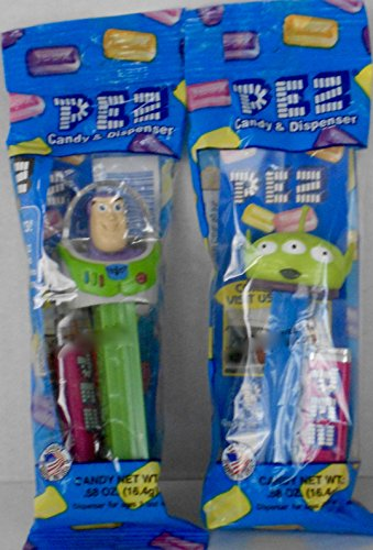 Toy Story's Buzz Lightyear and Green Alien Pez Dispensers - 2 Character Bundle