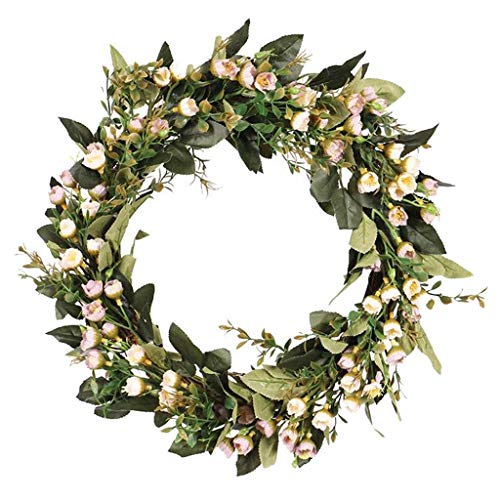 Hellery Künstliche Blumenkranz | 16 Zoll Türkranz Wandkranz Kunstblumendeko Frühlingsdeko zum aufhängen für Zuhause, Party, Hochzeit usw. - A