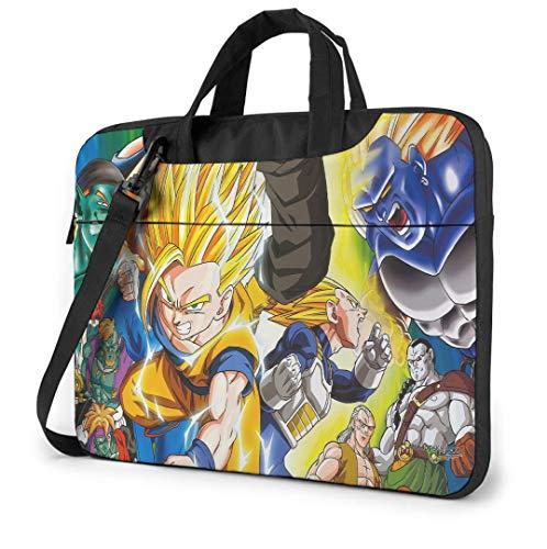 14 Inch Laptop Bag Dragon Ball Laptop Shoulder Bag with Zipper and Pockets, Laptop Sleeve Shoulder Bag for Women and Men, Anime Saiyan Handbag