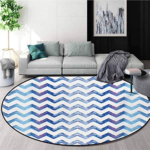 Great Deal! RUGSMAT Chevron Modern Machine Washable Round Bath Mat,Watercolors Style Chevron Pattern...