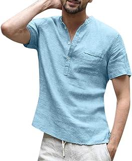 花千束 リネンシャツ メンズ tシャツ ヘンリーネック シンプル 柔らかい 無地 トップス 夏 インナーシャツ 大きいサイズ カットソー カジュアルシャツ