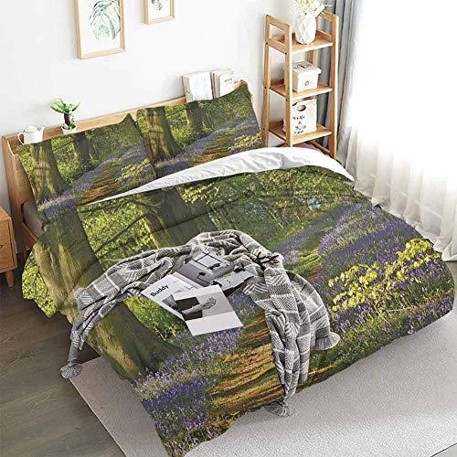 Aishare Store Woodland - Juego de funda de edredón (3 piezas, incluye 2 fundas de almohada, 203 x 228 cm), color verde y morado y marrón