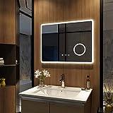Meykoers - Espejo de pared para baño con iluminación LED, armario con espejo, armario de pared con múltiples funciones, 3000-6400 K
