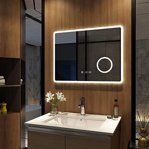 Meykoers Wandspiegel Badezimmerspiegel LED Badspiegel mit Beleuchtung 90x70cm Spiegel mit Vergrößerung, Touch-Schalter, Uhr, Beschlagfrei, Lichtspiegel Kaltweiß 6400K