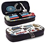 Lawenp Alta capacidad Law Icon Leather 3D Nanotechnology Printed Pencil Case Pouch Zippered Pen Box School Supply for Students,Big Capacity Stationery Box for Girls Boys and Adults