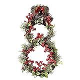 Garland Garland decorativo del muñeco de nieve de simulación de agujas de pino fruta roja rota Círculo de vacaciones de ventana Puntales hecho a mano de la guirnalda del muñeco en forma de PVC 58cm