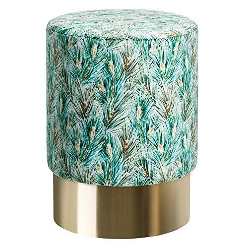 Puff Rama Verde Vintage Terciopelo tapizado ø 35