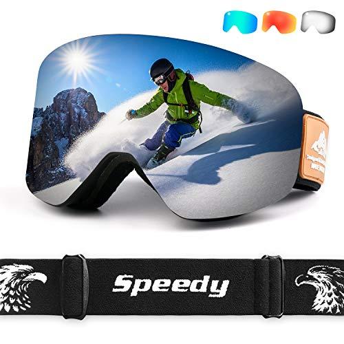 Leader Accessories Occhiali da Sci OTG, Occhiali da Snowboard Antivento Antiappannamento per Uomo, Donna e Gioventù Maschera da Sci con Protezione UV400 e Lente Antiriflesso,Grigio