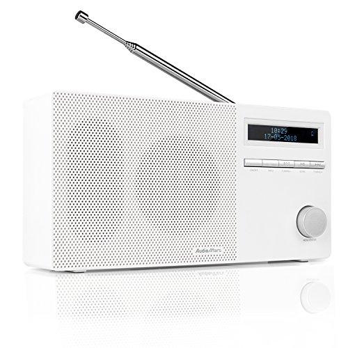 AudioAffairs DAB 010 Digitalradio DAB+, Bluetooth, 8 Std. Akku, kleines UKW Radio mit LCD-Display, SD-Kartenslot, AUX IN & OUT, Senderspeicher, Wecker, Weiß