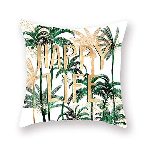 LOYYE Fundas de Cojín Decorativos Plantas Tropicales Verdes Cuadradas Terciopelo Suave Funda de Almohada Cubierta para Cojines Sofá Sala de Estar Cama Decor Throw Pillow Case Pillowcase,60x60cm T6407
