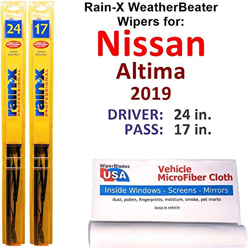 Rain-X WeatherBeater Wiper Blades for 2019 Nissan Altima Set Rain-X WeatherBeater Conventional Blades Wipers Set Bundled with MicroFiber Interior Car Cloth