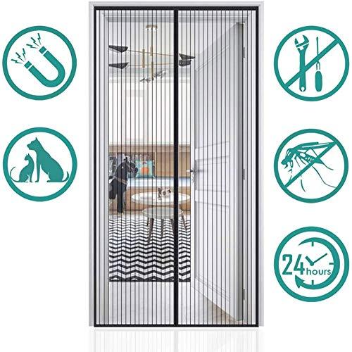 Vliegengaas, deur, zwarte magneetstrip, zachte gordijndeur, zomerventilatiegaas, geschikt voor kinderen en huisdieren 135x200cm(53x78inch)