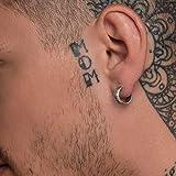 Sterling silver huggie hoop earring for men hoop earring men earring hoop men gift for boyfriend birthday gift men jewelry black earring