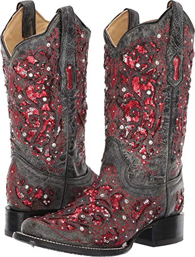 Corral Ld Grey-Red Glitter Inlay & Crystals Sq Toe ,Size 9