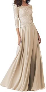Mother of The Bride Dresses, 3/4 Sleeves Lace Appliques Formal Evening Prom Chiffon Gowns