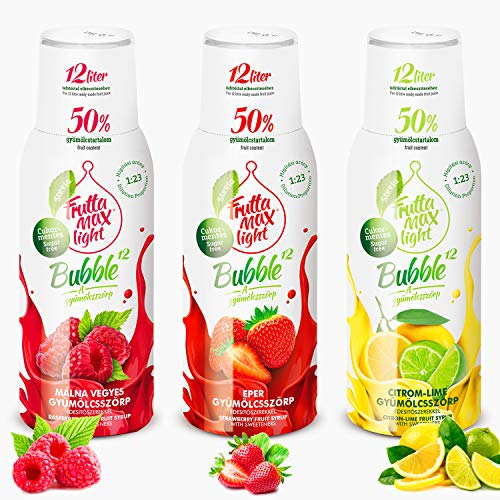 Light Low-Carb Fitness-Sirup Himbeere-Erdbeere-Zitrone-Lime Frutta Max light | Ohne-Zucker | mit Stevia | 50% Fruchtanteil 3erPack(3x500ml)