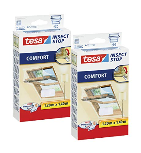 tesa Insect Stop COMFORT Fliegengitter Dachfenster - Insektenschutz mit Klettband selbstklebend (120 cm x 140 cm, 2er Pack/Weiß (Leichter Sichtschutz))