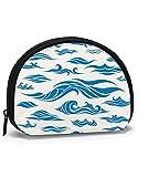 Waves Set Elements Design Blue Wave Nature Mujeres Niñas Shell Cosmético Maquillaje Bolsa de Almacenamiento Monedas de Compras al Aire Libre Organizador de Billetera