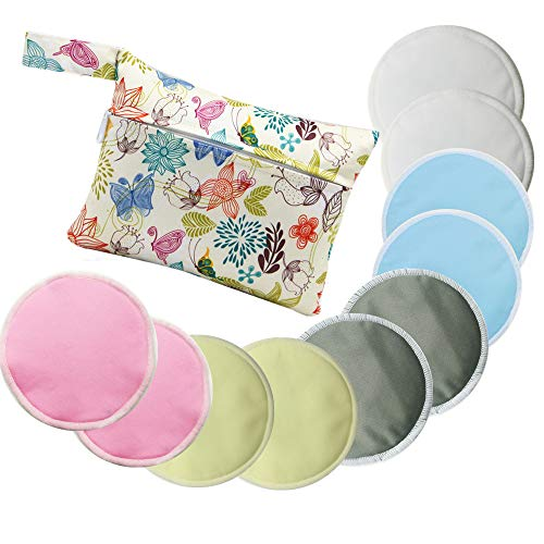 Washable Organic Bamboo Nursing Pads (10 Pack) /Breastfeeding Pads with Carry Bag (05)