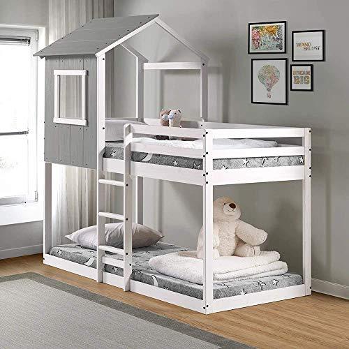 P'Kolino Tree House Bunk Bed – Rustic Dark Grey with White Frame