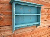 Tall Turquoise Blue WALL SHELF, beach distressed shelf, farmhouse french country wall display shelf, handmade in Texas