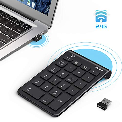 Wireless Number Pad, Jelly Comb Numeric Keypad 2.4G Number Pad Financial Accounting Keypad 22 Key for Laptop, PC, Desktop, Surface, Notebook-Black
