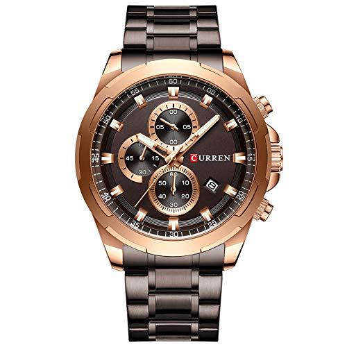 Curren Reloj de pulsera deportivo para hombre con varias zonas horarias y fecha, acero inoxidable, color marrón, reloj de cuarzo 8354