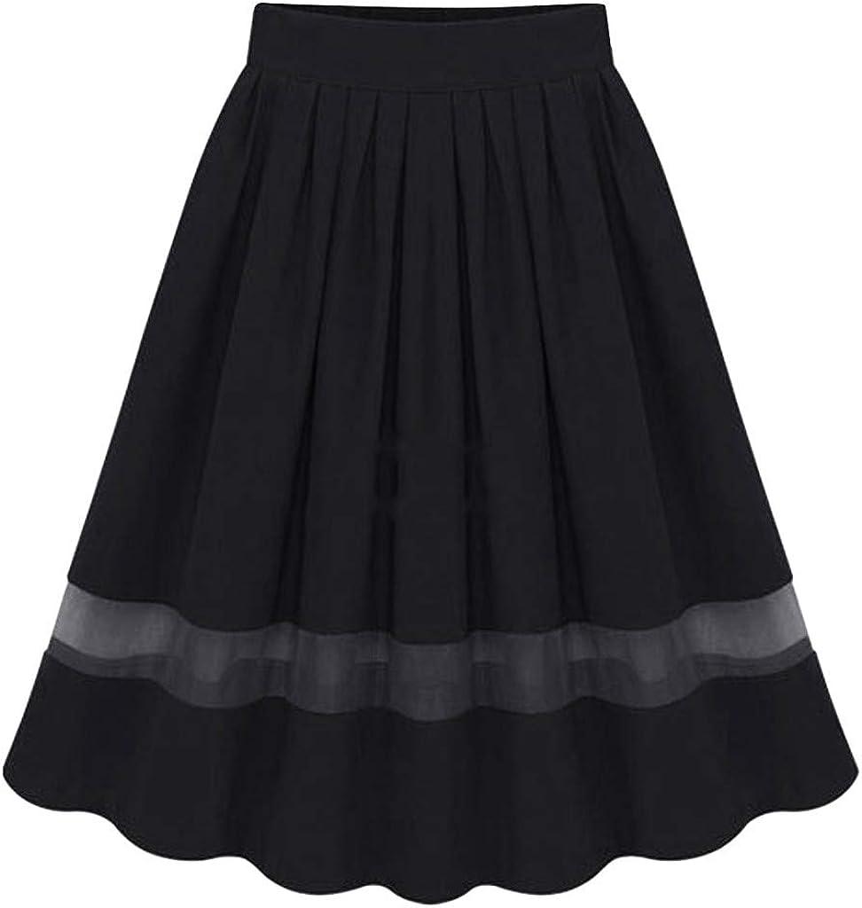 Gergeos Women's Vintage A-line Midi Skirts Mesh Stitching Pleated Skirts Elastic High Waist Casual Ladies Skirts