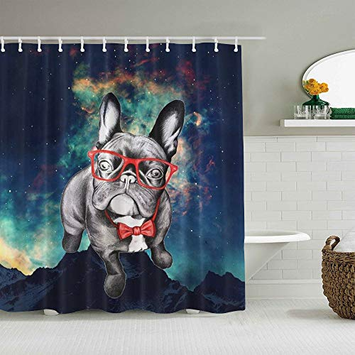 Polyester Fabric Shower Curtain Set with 12 Plastic Hooks Decorative Bath Curtains,Funny French Bulldog with Glass,72 x 84 inches
