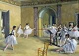 yiyiyaya Frameless Hitlers Gemälde Kunstgalerie LePeletier Street Opernhaus Ballsaal Edgar Degas Ölgemälde Handarbeit Hohe Qualität 30_X_20inch