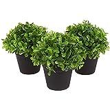 Juvale - Juego de 3 macetas de plástico con plantas artificiales de color verde para decoración del hogar - Tamaño pequeño - Para decoración de interiores