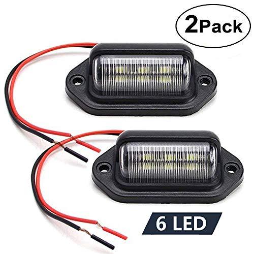 License Plate Light (2 Pack), 12V 6-SMD LED License Plate Lamp Taillight for Truck SUV Trailer Van, Step Courtesy Lights, Dome/Cargo Lights
