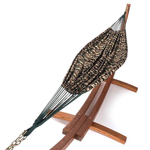 Ampel 24 XXL Hängematte mit Gestell Madagaskar 400 cm braun, Hängemattengestell Holz aus wetterfest, Doppelhängematte Camouflage ohne Spreizstab