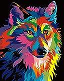 Rihe Marco de Madera, Pintura por Números para Adultos Lobo Colorido Impresión de la Lona Mural Decoración hogareña