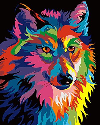 RIHE Sin Marco, Pintura por Números para Adultos Lobo Colorido Impresión de la Lona Mural Decoración hogareña