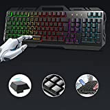 Tastiera, TedGem Tastiera Gaming, PC Tastiera, LED Tastiera Retroilluminata, USB Gaming Keyboard Pannello Metallico - Anti ghosting, per PC, Laptop/Desktop, Xbox One, Mac (Nero)
