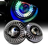 7 Inch LED Projector Color Changing Halo Chasing Headlights with Remote Control Compatible with Jeep