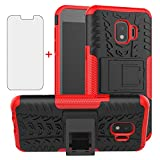 Phone Case for Samsung Galaxy J2 Pure J2 Core J 2 Dash 2J Shine with Tempered Glass Screen Protector Cover and Stand Hard Rugged Cell Accessories J2Core J2Dash J2Pure J2Shine SM-J260A J260A Black Red