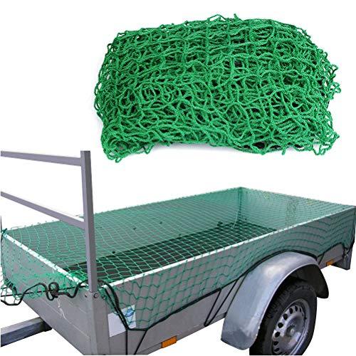 TIMESETL Anhängernetz Dehnbar Gepäcknetz für Anhänger, 2x3m Sicherungsnetz Elastisch Containernetz Abdecknetz engmaschig mit Gummiseil zur Ladungssicherung